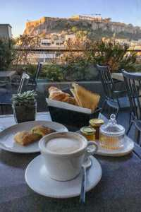 Breakfast with view of the Acropolies at The Zillers Boutique Hotel roof terrace, Athens