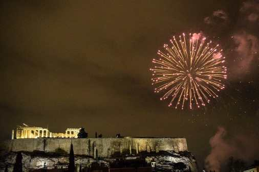 View of the Acropolis from Herodion Hotel with fireworks, Athens