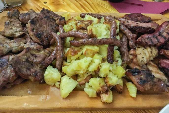 Mixed meat platter romanian food