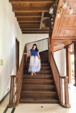 The wooden staircase at Bolgatty Palace in Kochi