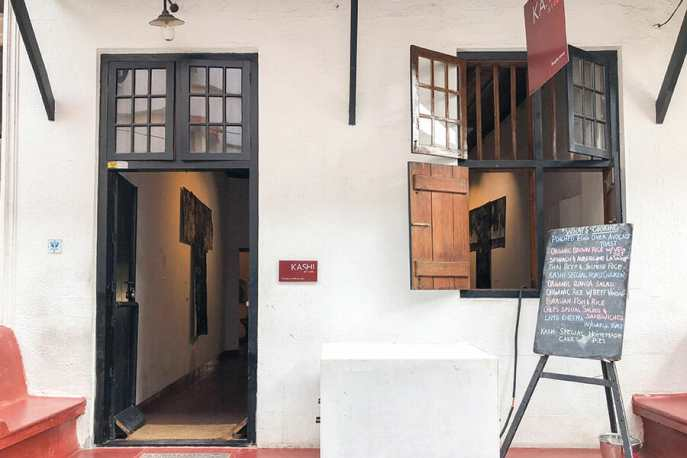 The entrance to the Kashi Art Cafe in Kochi, which is also a gallery