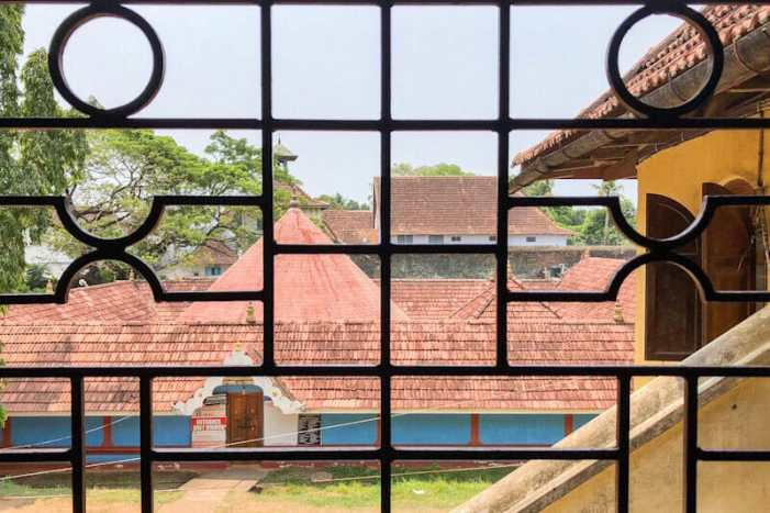 Looking out from Mattancherry Palace or Dutch Palace in Kochi