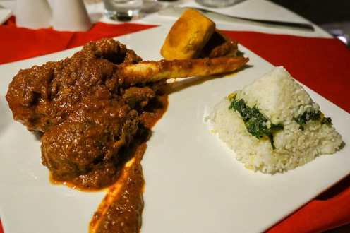 Railway Mutton Curry with rice at the Armoury Cafe at the Brunton Boatyard Hotel in Kochi