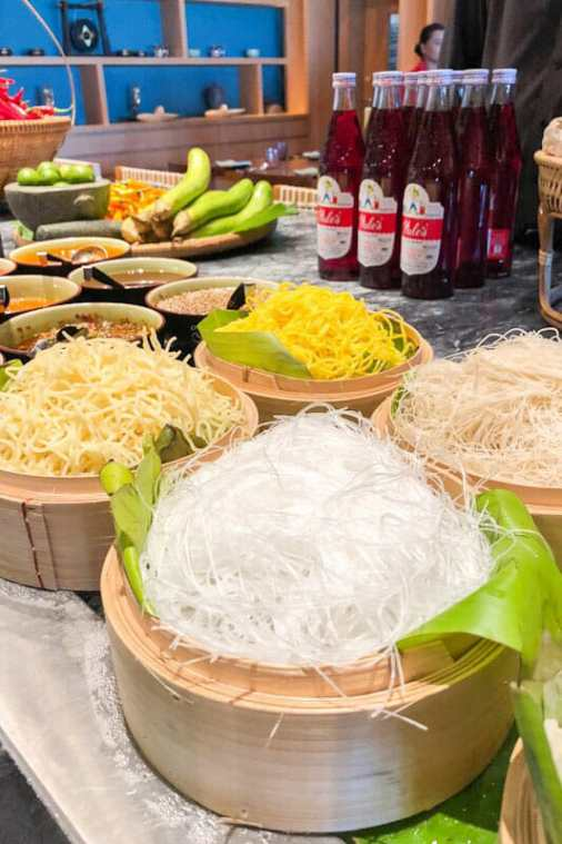 Baskets with different varieties of noodles at the Thai Soul Restaurant at the Grand Hyatt Kochi Bolgatty Hotel