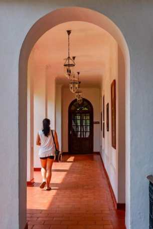 Walking through the arches at the Brunton Boatyard Hotel