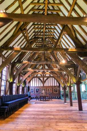 Timber framed Hall with wood beams and columns