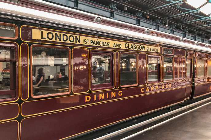 Dining train carriage with London and Glasgow written on it