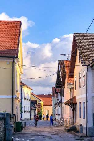 Colourful street in Crnomelj, in the region of Bela Krajina in Slovenia