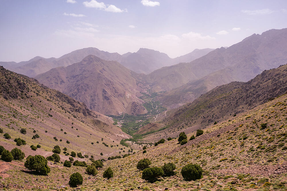 View of the Imlil Valley and the mountains in the distance