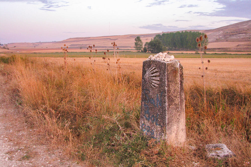 A stone road marker with a shell symbol marking the camino de santiago