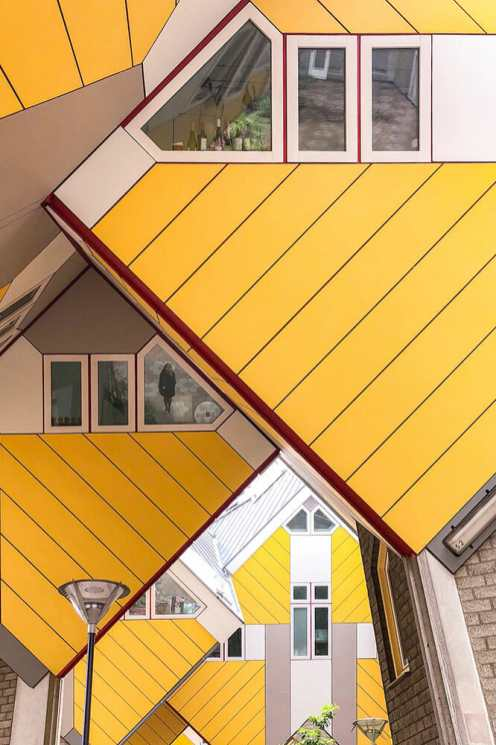 Yellow geometric shapes from the cube houses