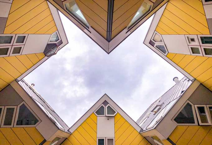 Looking up to the Cube Houses making a geometric shape