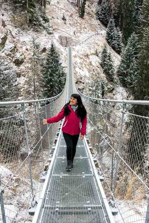 Walking on a metal suspension bridge