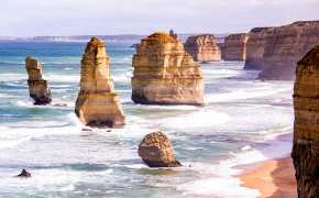 Stacks of rocks in the sea along the Great Ocean Road, to add to your road trip bucket list