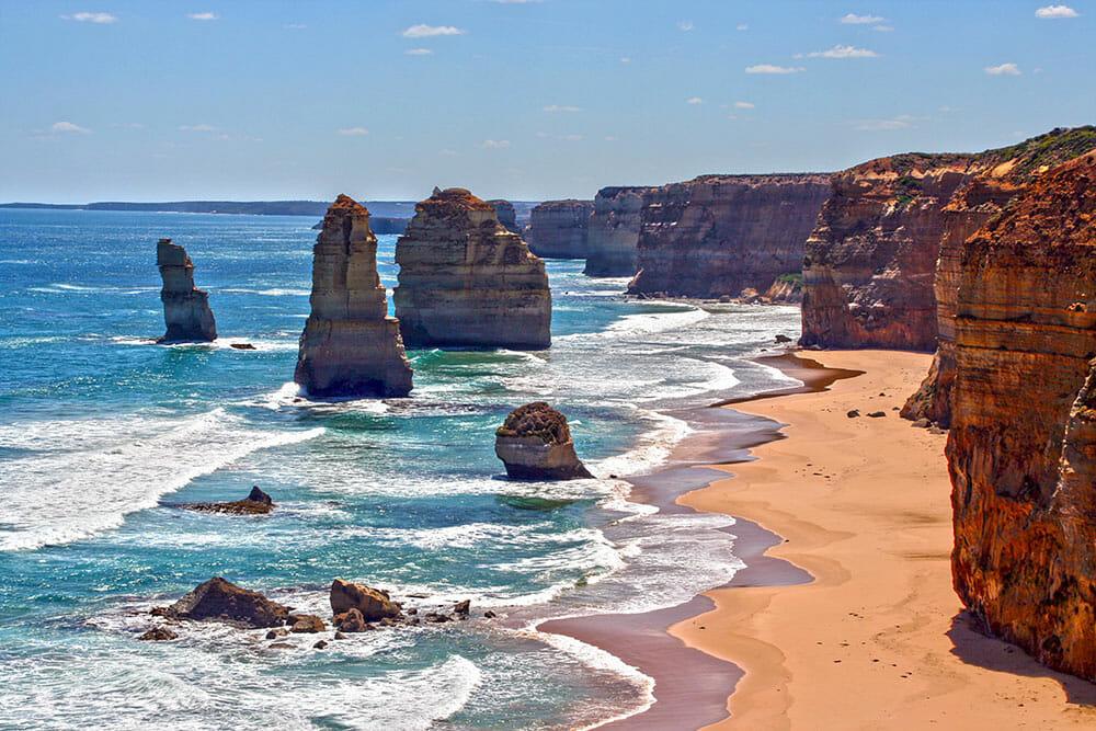 Stacks of rocks by the beach along the Australian Great Ocean Road