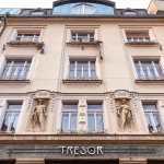 Three storey Art Nouveau facade of Hostel Tresor