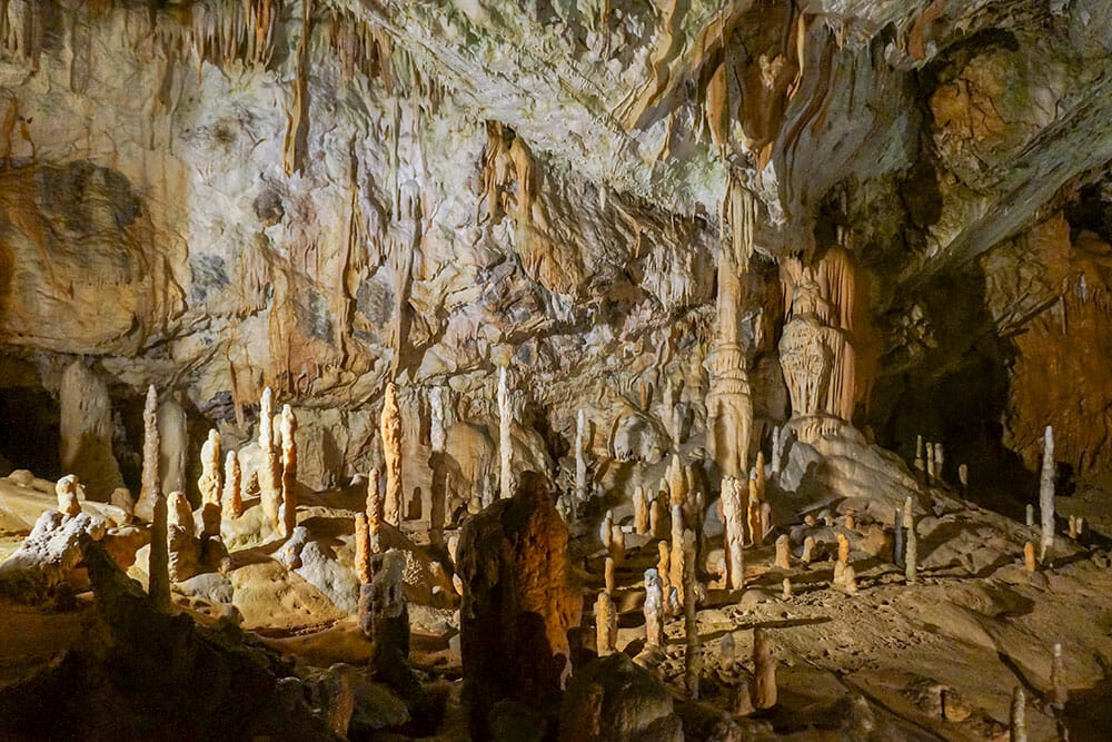 Stalagmites on the floor in a cave
