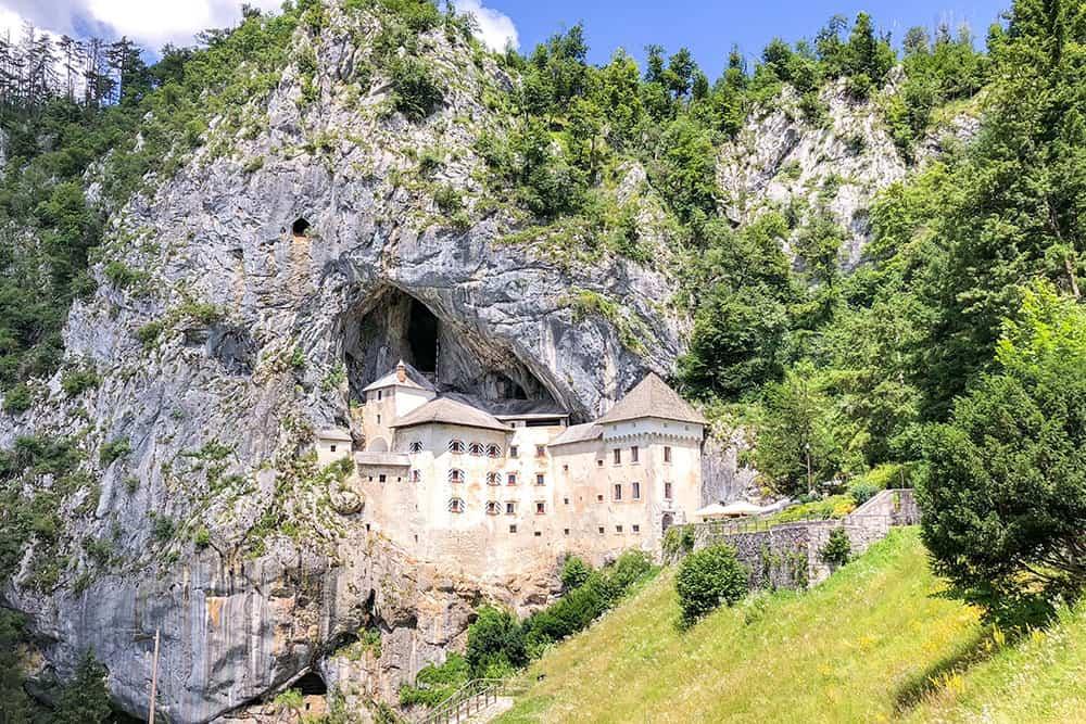 Predjama Castle built into a cliff face cave