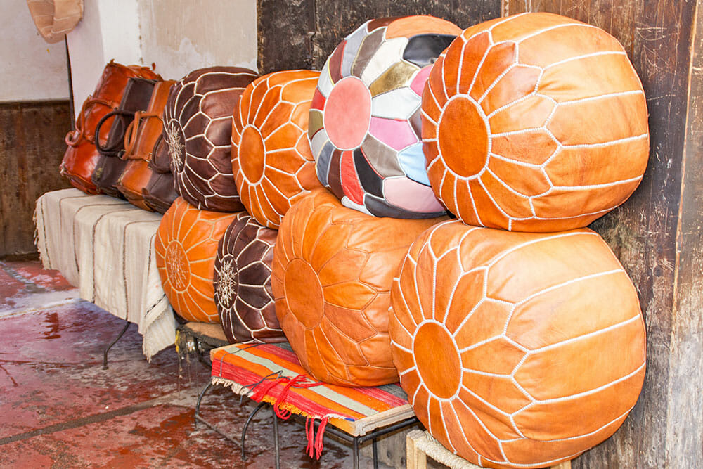 Shopping in Morocco for leather pouffes