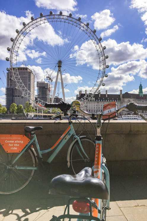 Two bikes parked with the London Eye in the background