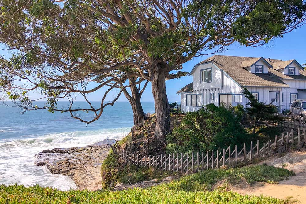 House on the edge of the coast with two large tree outside and the ocean below it