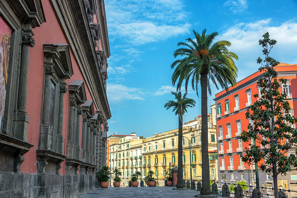 Street with colourful buildings and palm trees in Naples Italy