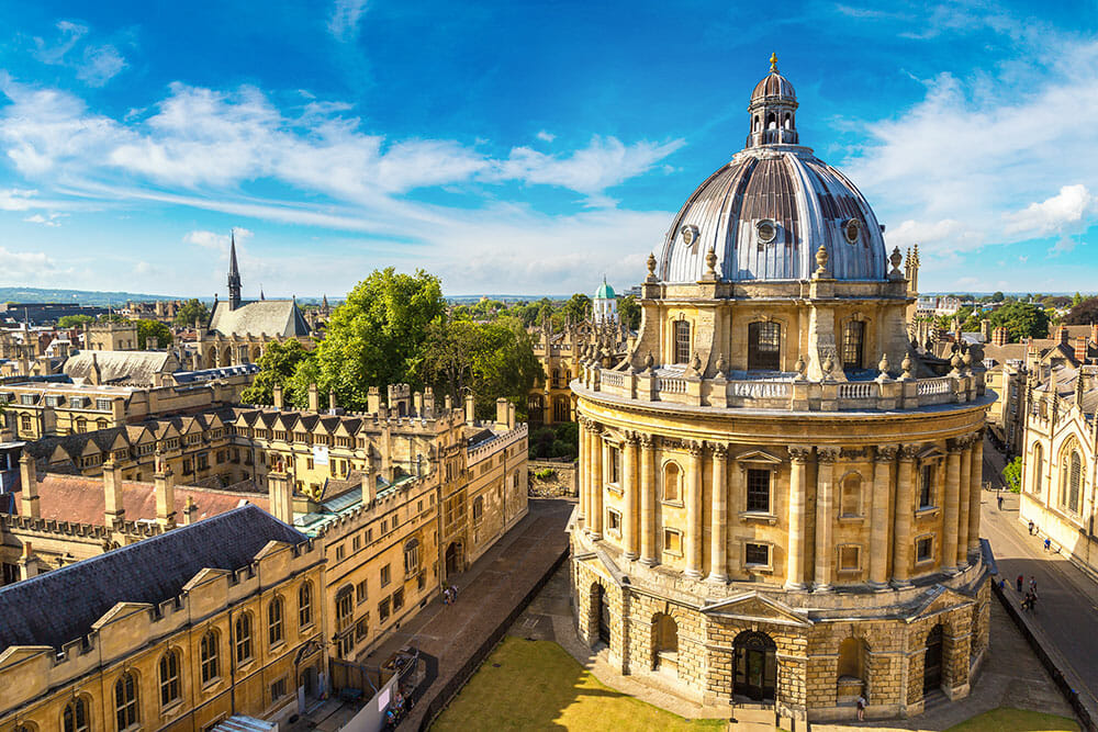 Oxford University buildings seen from a high viewpoint