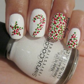 Holiday Nail Art - Christmas Pointillism