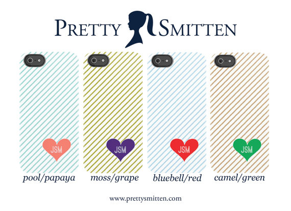 Pretty Smitten Striped iPhone Cases