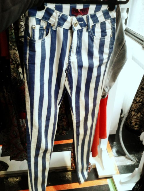 Navy Striped Jeans from boohoo