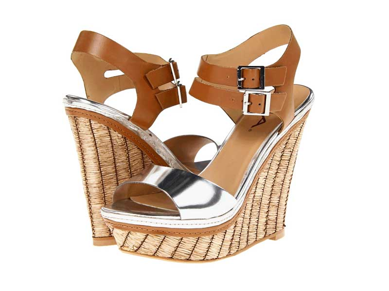 Daily Deal Mia Strut Wedges In Silver Tan Broke And Beautiful