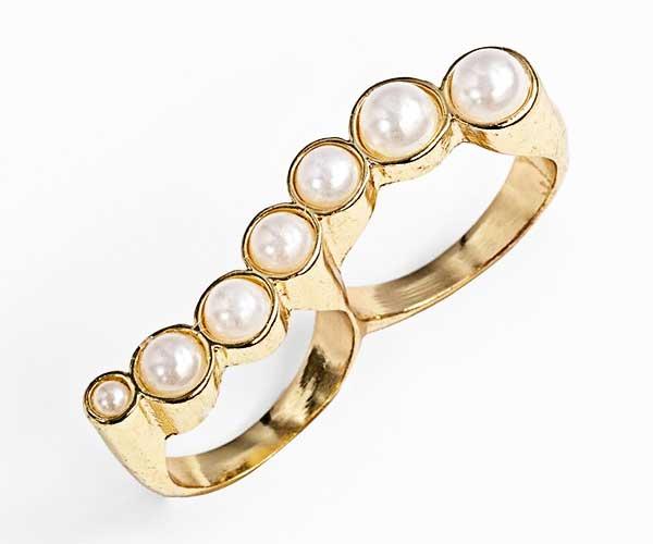 """Tildon """"Pearl Wave"""" Double Finger Ring"""