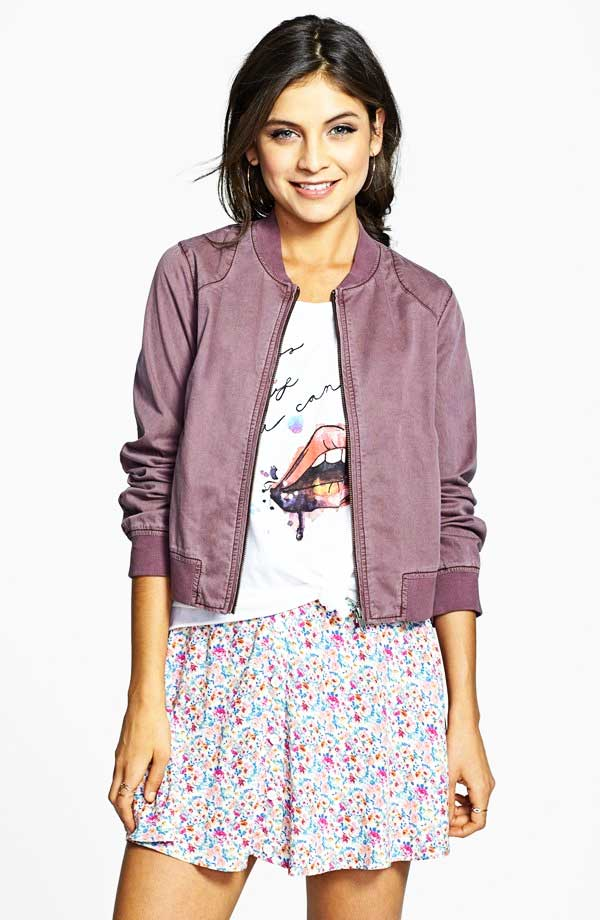 Rubbish Twill Bomber Jacket in Purple