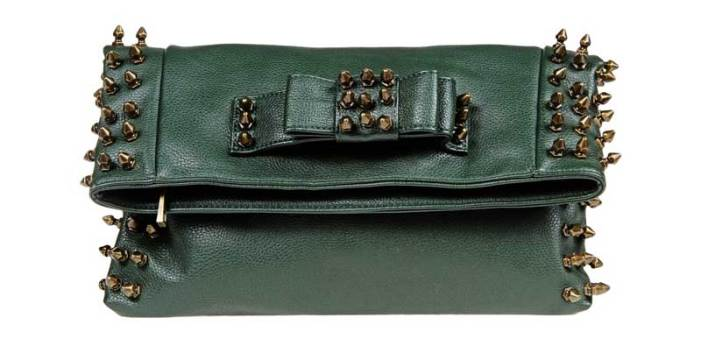 Dark Green MIA Studded Fold Over Clutch