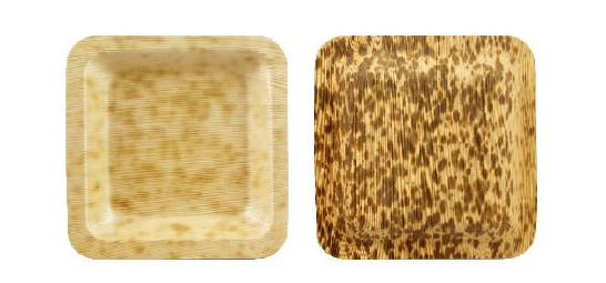 Square Mottled Wood Plates