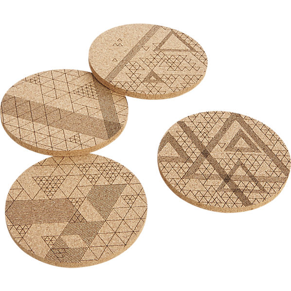 CB2 Set of 4 Cork Coasters with Geometric Designs