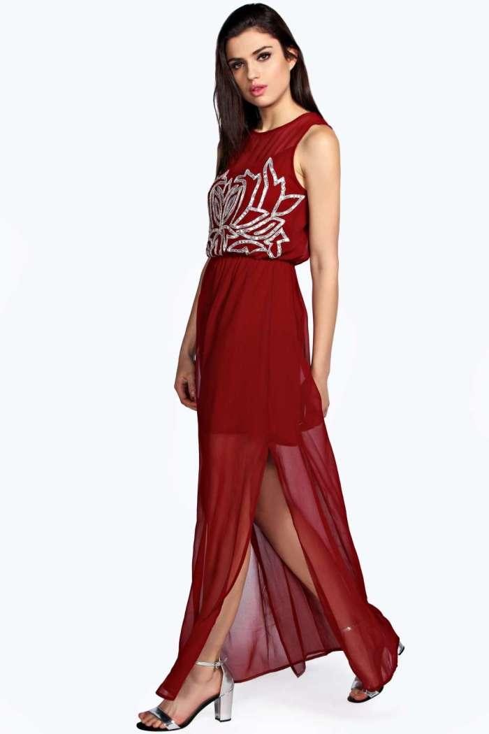 Boohoo Raya Sequin Red Dress