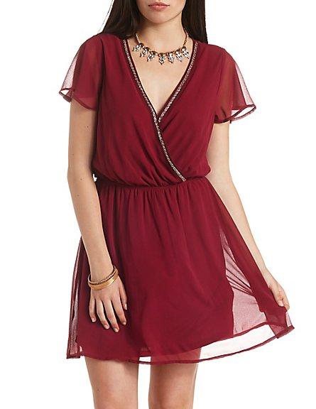 Red Beaded Chiffon Skater Dress