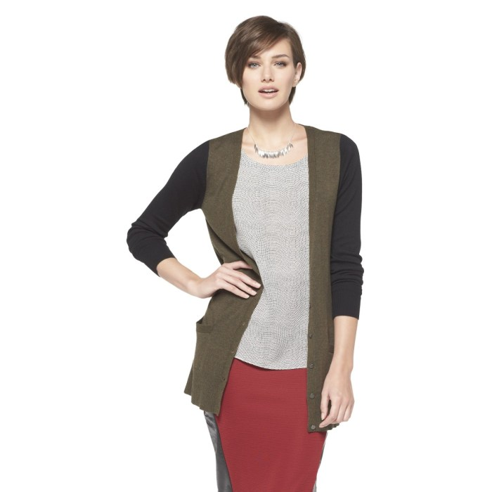 Ultrasoft Boyfriend Cardigan - Olive and Black