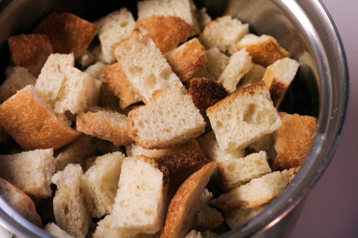 Diced stale bread for herbed croutons