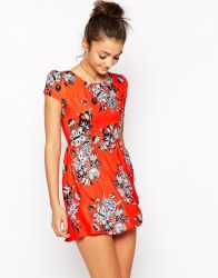 Motel Topi Tea Dress in Tangerine Morris Flower, $45 (was $76)