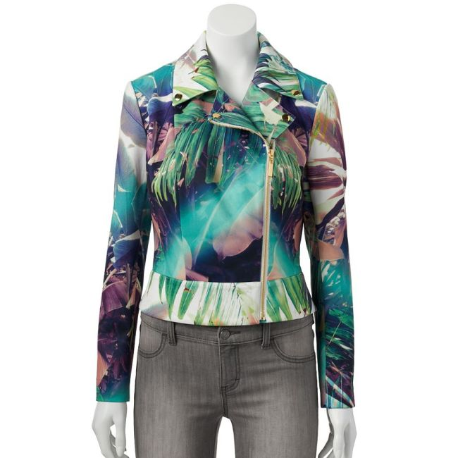 Jennifer Lopez Rainbow Palm Leaf Moto Jacket