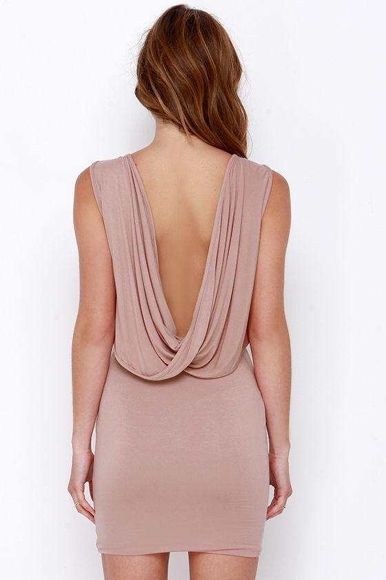 Lulu*s Blush Drape Back Dress