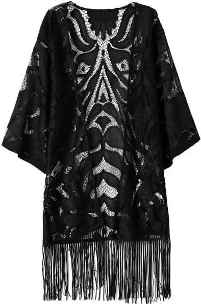 Black Fringe Hollow Lace Bed Coat