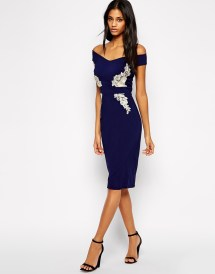 Little Mistress Off Shoulder Pencil Dress, $45 (was $90)