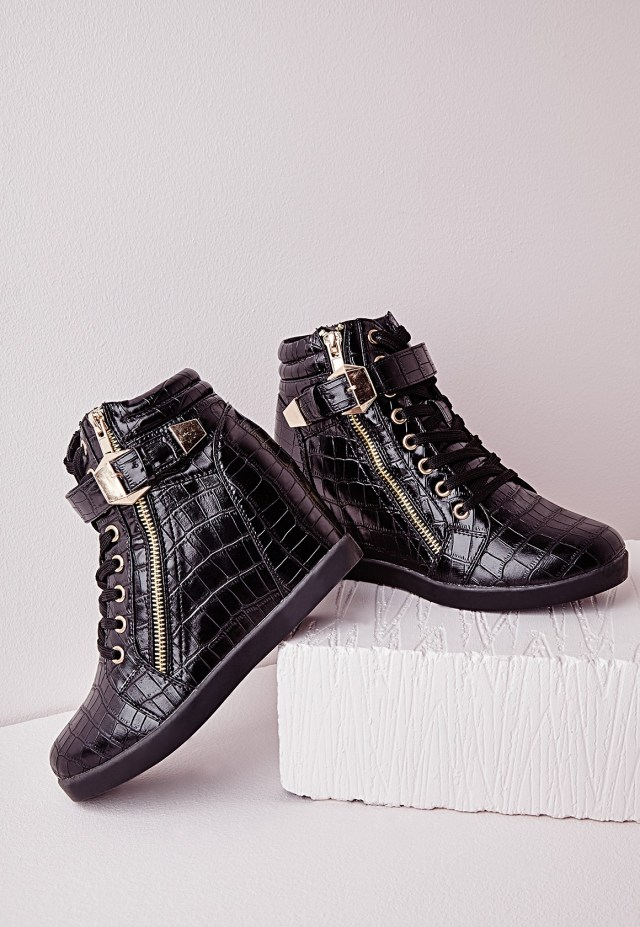 Miss Guided High Top Croc Wedge Sneakers