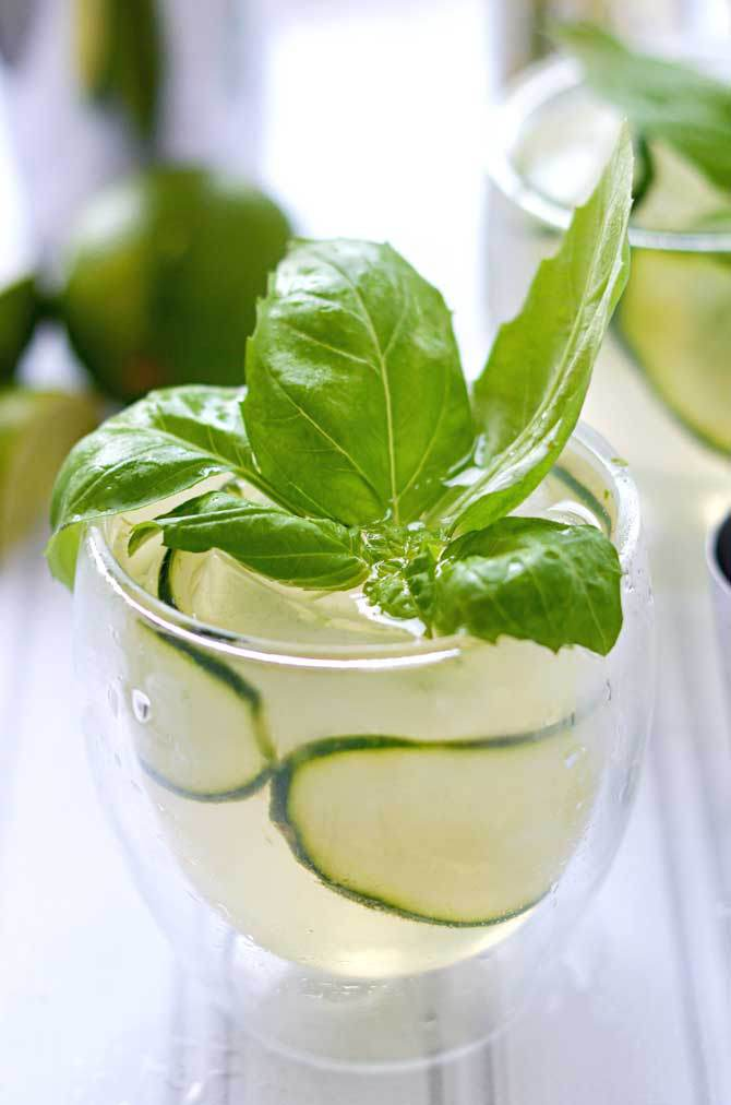 Cucumber Basil Gin and Tonic via Host the Toast