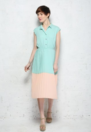 Mint & Peach Pleated Midi Shirt Dress by Sugarhill Boutique