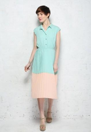 Mint & Peach Pleated Midi Shirt Dress by Sugarhill Boutique