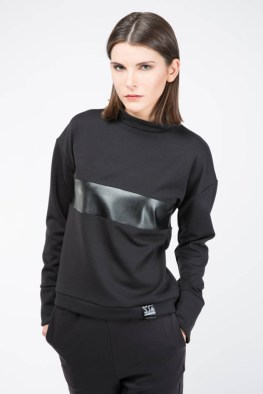 3-14 Faux Leather Strip Top